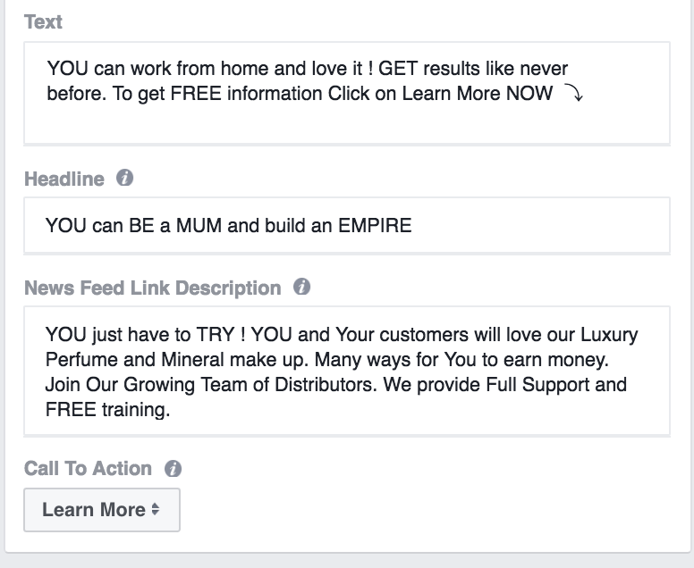 facebook ad sections